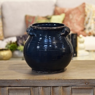 Distressed Gloss Midnight Blue Ceramic Tall Round Bellied Tuscan Pot with Handles