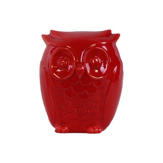 Red Gloss Ceramic Owl Figurine