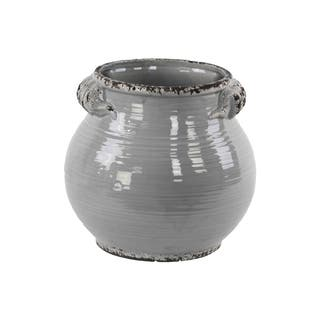 UTC31821: Ceramic Tall Round Bellied Tuscan Pot with Handles LG Distressed Finish Gloss Grey