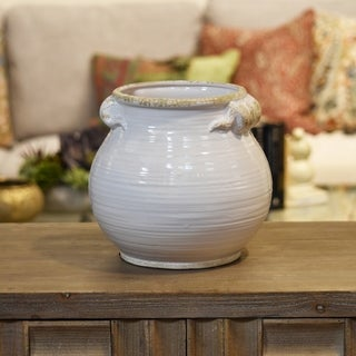 Distressed Gloss White Ceramic Tall Round Bellied Tuscan Pot with Handles
