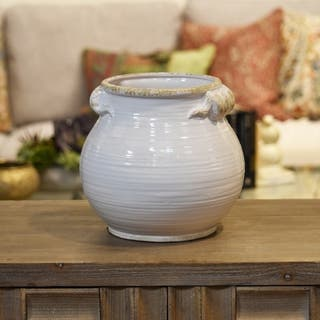 UTC31820: Ceramic Tall Round Bellied Tuscan Pot with Handles LG Distressed Finish Gloss White