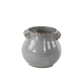 Ceramic Tall Round Bellied Tuscan Pot with Handles Lg Distressed Gloss Grey