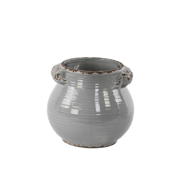 UTC31818: Ceramic Tall Round Bellied Tuscan Pot with Handles SM Distressed Gloss Finish Gray