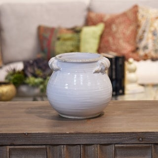UTC31817: Ceramic Tall Round Bellied Tuscan Pot with Handles SM Distressed Gloss Finish White
