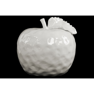 Ceramic Apple Figurine with Stem and Leaf LG Dimpled Gloss White