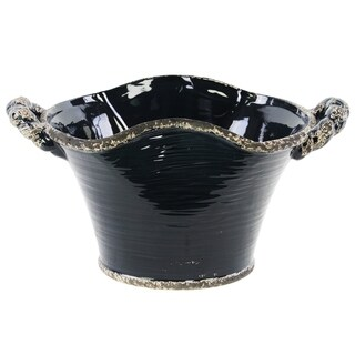 UTC31810: Ceramic Stadium Shaped Tapered Tuscan Pot with Handles LG Distressed Gloss Finish Midnight Blue