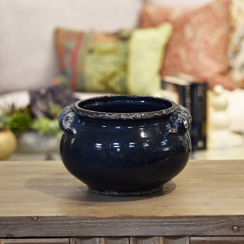 UTC31813: Ceramic Wide Round Bellied Tuscan Pot with Handles SM Distressed Gloss Finish Midnight Blue