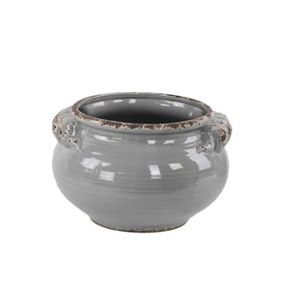 Ceramic Wide Round Bellied Tuscan Pot with Handles Distressed Gloss Grey