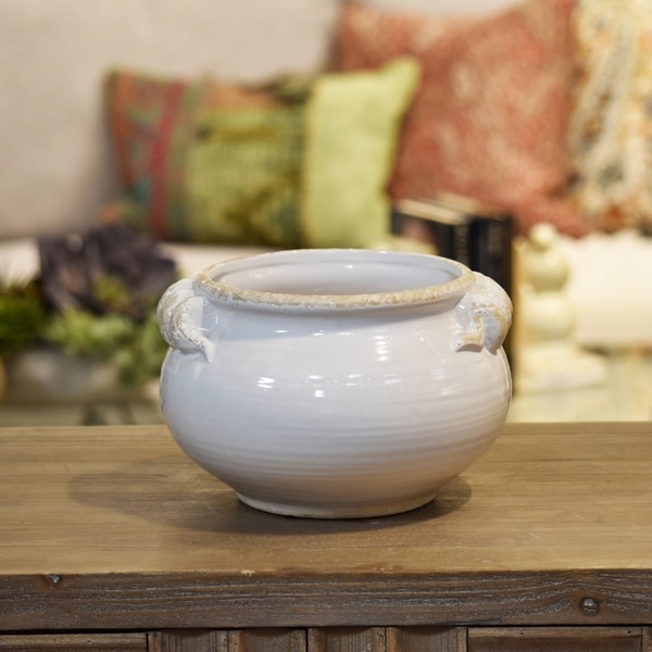 UTC31811: Ceramic Wide Round Bellied Tuscan Pot with Handles SM Distressed Gloss Finish White