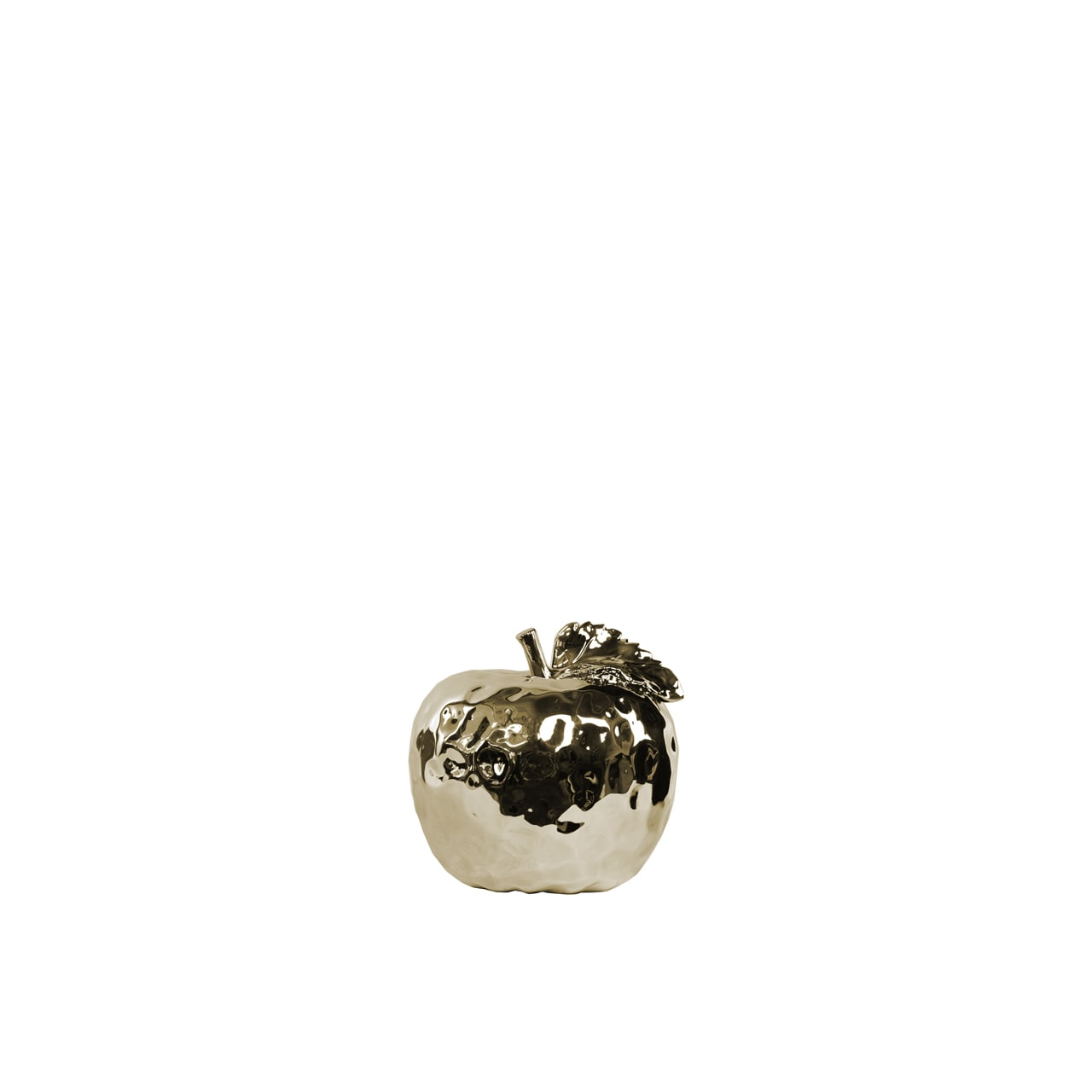 Ceramic Small Dimpled Polished Champagne Apple Figurine with Stem and Leaf (Champagne; 4.50x4.50x4.25H)