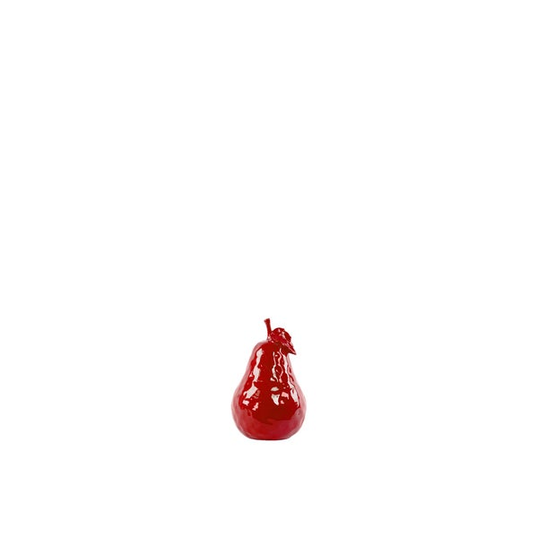 Ceramic Small Dimpled Gloss Red Pear Figurine with Stem and Leaf