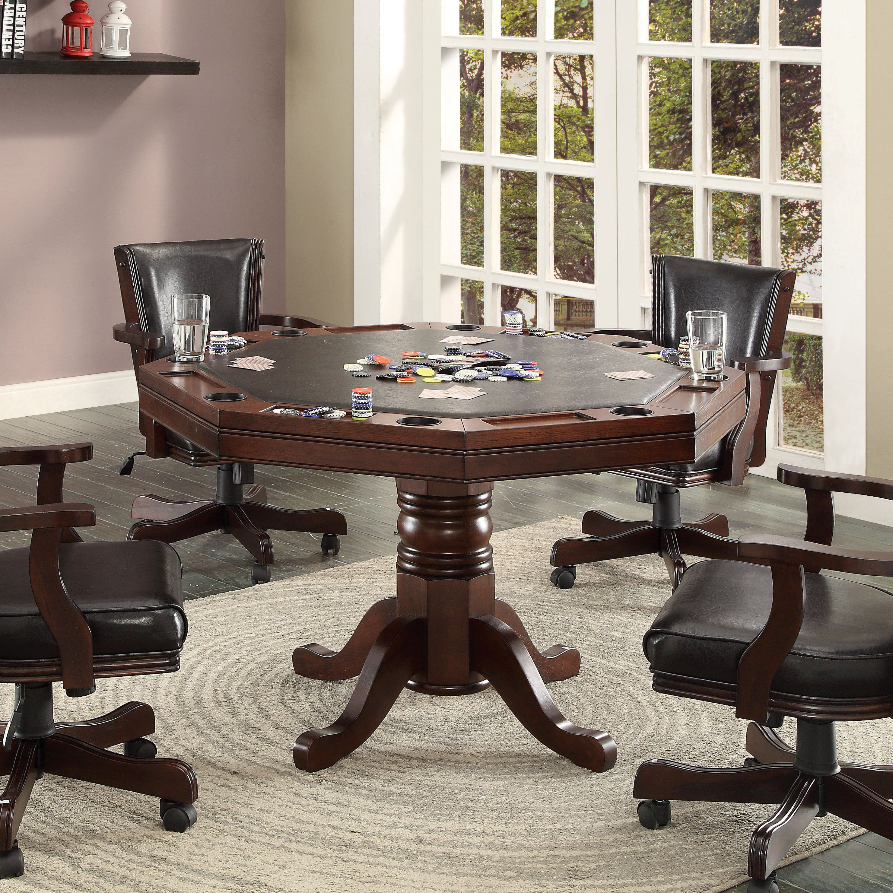 Furniture of America Gary 3-in-1 Cherry Poker Game Table ...