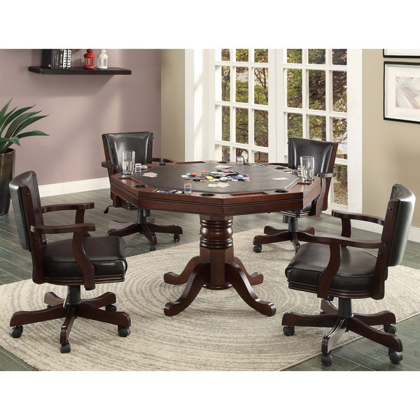 Furniture of America Gary 5-piece Cherry 3-in-1 Poker Game Table Set