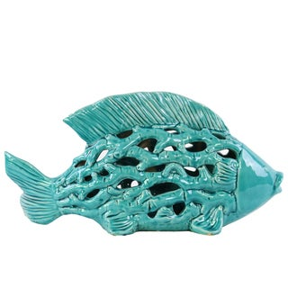 Gloss Turquoise Ceramic Big Fish Figurine with Holes and Coral Side Design