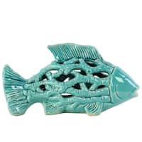 Ceramic Small Fish Figurine with Holes and Coral Side Design Gloss Turquoise