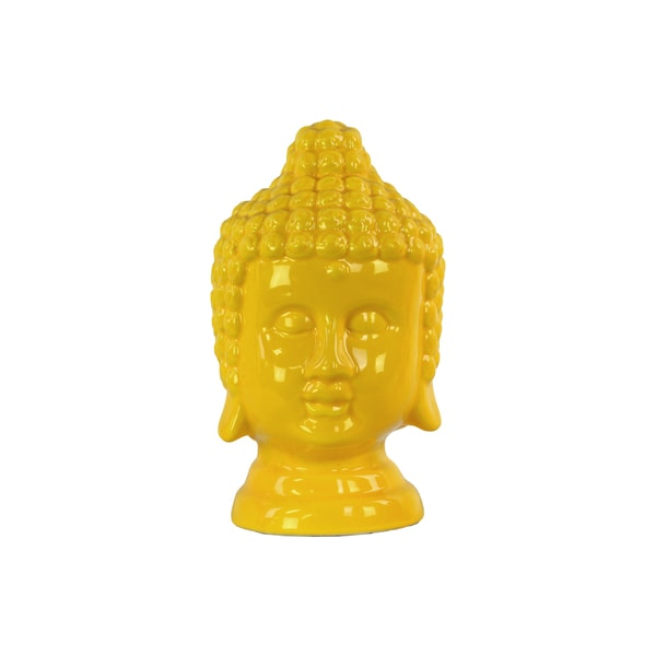 Urban Trends Ceramic Yellow Buddha Head Figurine