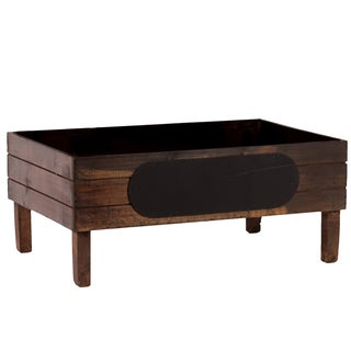 Wood Stained Brown Finish Rectangular Crate with Black Stadium Shaped Label and 4 Legs
