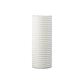 Gloss White Ceramic Dimpled Tall Round Vase