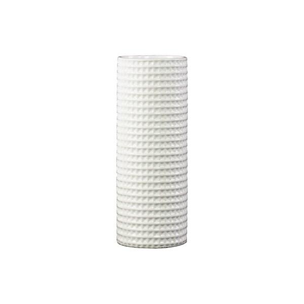 UTC31804: Ceramic Tall Round Vase Dimpled Gloss Finish White
