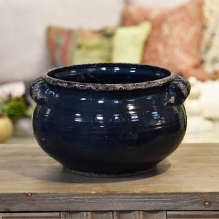 Gloss Midnight Blue Ceramic Distressed Wide Large Round Bellied Tuscan Pot with Handles