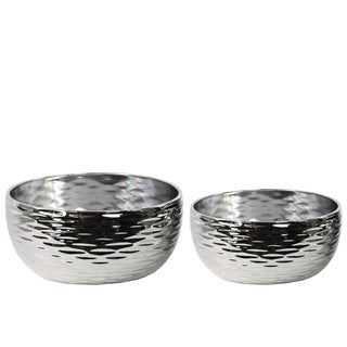 Polished Chrome Silver Ceramic Round Grooved Pots (Set of 2)