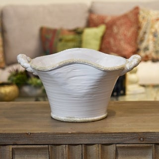 UTC31808: Ceramic Stadium Shaped Tapered Tuscan Pot with Handles LG Distressed Gloss Finish White