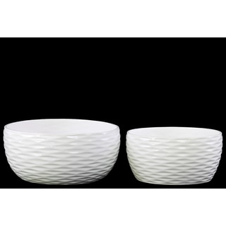 Glossy White Ceramic Round Grooved Pots (Set of 2)
