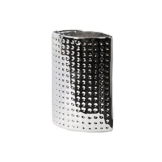 UTC28813: Ceramic Elliptical Vase Dimpled Polished Chrome Finish Silver