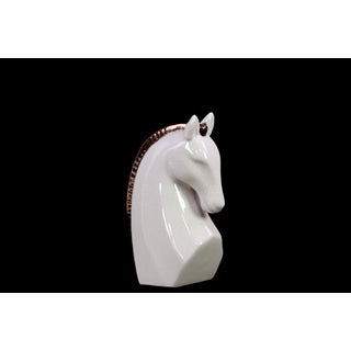 Gloss White Stoneware Strutting Horse Bust with Bronze Mane