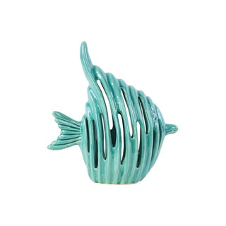 Ceramic Gloss Turquoise Fish Figurine with Holes