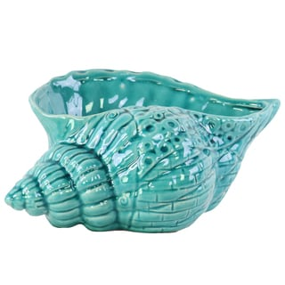 Ceramic Gloss Turquoise Conch Seashell Sculpture