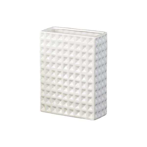 UTC28806: Ceramic Tall Rectangular Vase Dimpled Finish Gloss Finish White