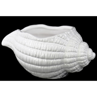 Porcelain Conch Shell Sculpture Gloss White