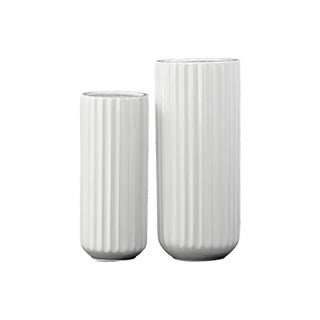 Corrugated Gloss White Porcelain Tall Cylindrical Flower Vase with Rounded Bottom (Set of 2)