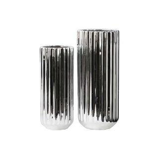 Corrugated Chrome Silver Porcelain Tall Cylindrical Flower Vase with Rounded Bottom (Set of 2)