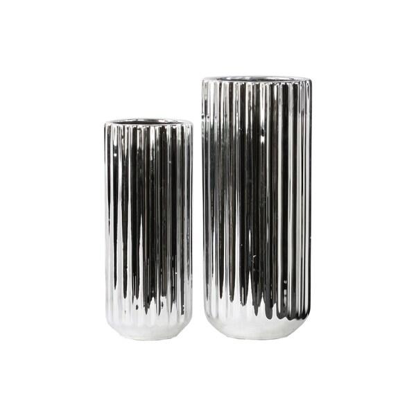 UTC28619: Porcelain Tall Cylindrical Flower Vase with Rounded Bottom Set of Two Corrugated Polished Chrome Finish Silver
