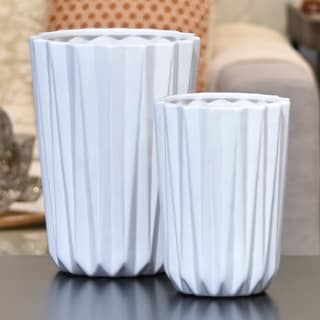 Porcelain Tapered Flower Vase Set of Two Corrugated Gloss White