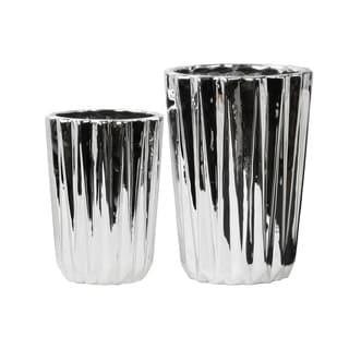 Porcelain Tapered Flower Vase Set of Two Corrugated Polished Chrome Silver