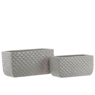 Ceramic Rectangular Pots with Diagonal Pattern Set of Two Gloss Light Gray