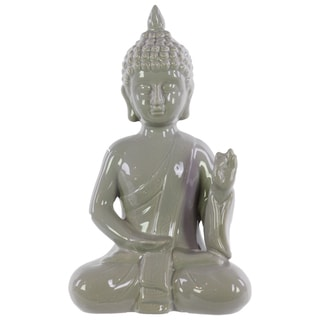 Ceramic Gloss Grey Meditating Buddha in Abhaya Mudra