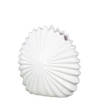 Ceramic Shell Flower Vase Gloss White