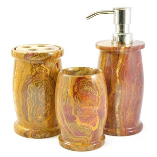 Nature Home Decor Multi Brown Onyx 3-Piece Bathroom Accessory Set of Pacific Collection.