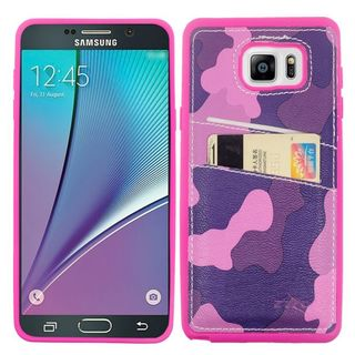 Insten Hot Pink/ Purple Camouflage Leather TPU Dual Layer Hybrid Case Cover with Wallet Flap Pouch For Samsung Galaxy Note 5