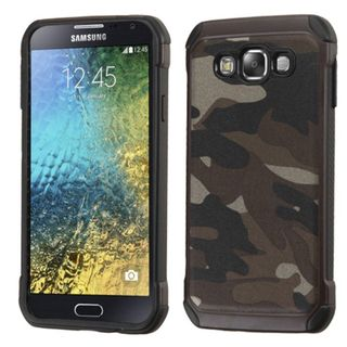 Insten Gray/ Black Camouflage Hard PC/ Silicone Dual Layer Hybrid Rubberized Matte Case Cover For Samsung Galaxy E5