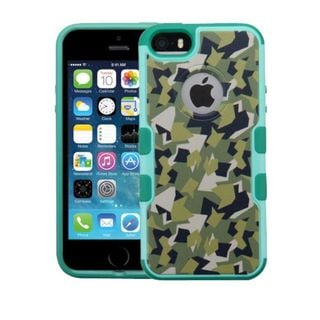 Insten Green/ Black Camouflage Hard Snap-on Rubberized Matte Case Cover For Apple iPhone 5/ 5S/ SE