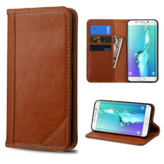 Insten Genuine leather Fabric Case Cover with Stand/ Card Slot For Samsung Galaxy S6 Edge Plus