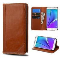 Insten Genuine leather Fabric Case Cover with Stand/ Card Slot For Samsung Galaxy Note 5