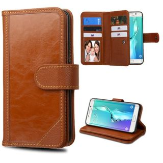 Insten Genuine leather Fabric Case Cover with Stand/ Card Slot/ Photo Display For Samsung Galaxy S6 Edge Plus