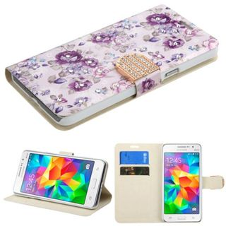 Insten Purple/ White Flowers Leather Case Cover with Stand/ Wallet Flap Pouch/ Diamond For Samsung Galaxy Grand Prime