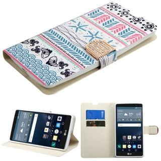 Insten Blue/ Pink Jumping Fishes Leather Case Cover with Stand/ Wallet Flap Pouch/ Diamond For LG G Stylo